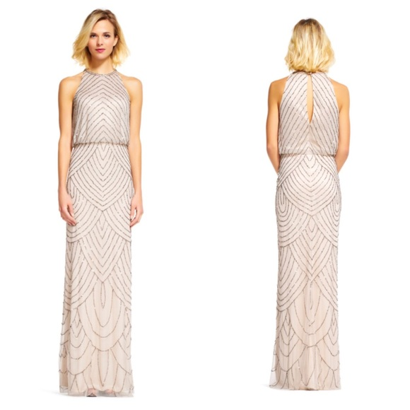 17684244 Adrianna Papell Dresses | New Adriana Papell Nude Beaded Halter Gown ...